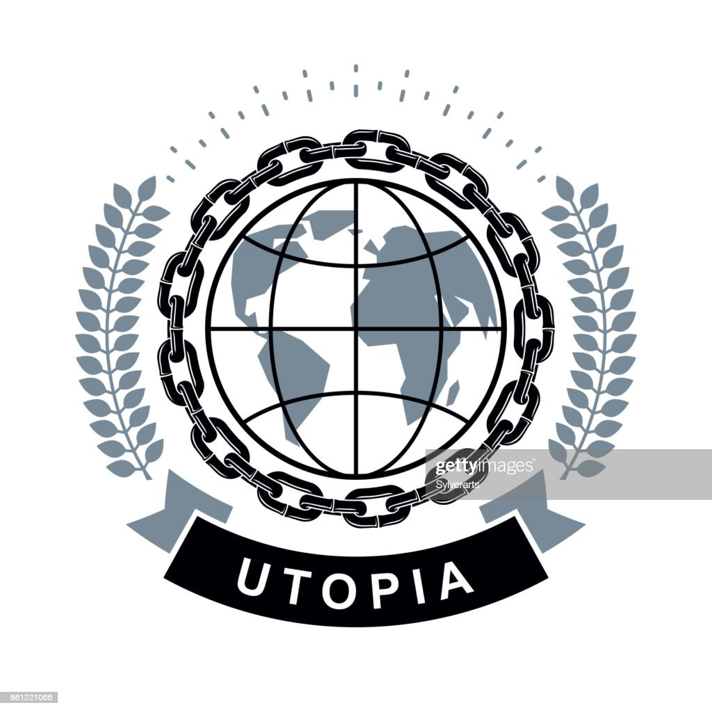 Vector emblem composed using Earth globe surrounded with iron chain and decorated using laurel wreath. Totalitarianism as the evil power, no limits abstract symbol.