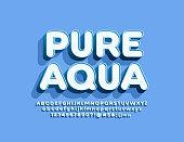 Vector emblem Pure Water with 3D Alphabet set