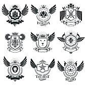 Vector emblems, vintage heraldic designs. Coat of Arms collection