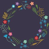 Vector Embroidery frame pattern with Forest plants and Field wildflowers.