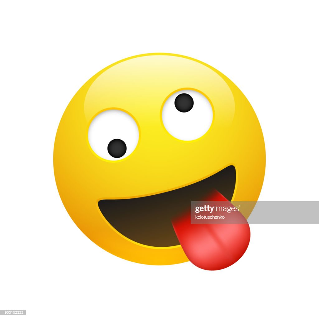 Vector Emoji yellow smiley crazy face