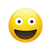 Vector Emoji yellow smiley face with eyes