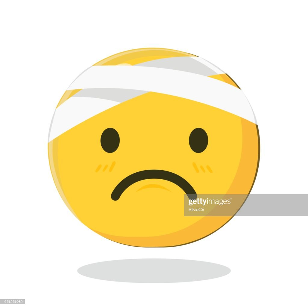 Vector Emoticon with Damaged Bandaged Head