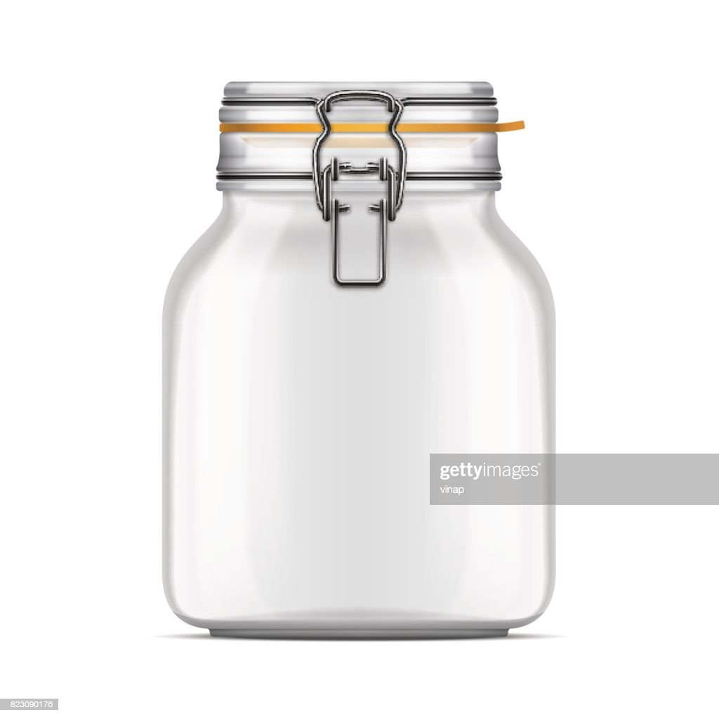 Vector empty Bale Glass Jar with Swing Top Lid isolated over white background
