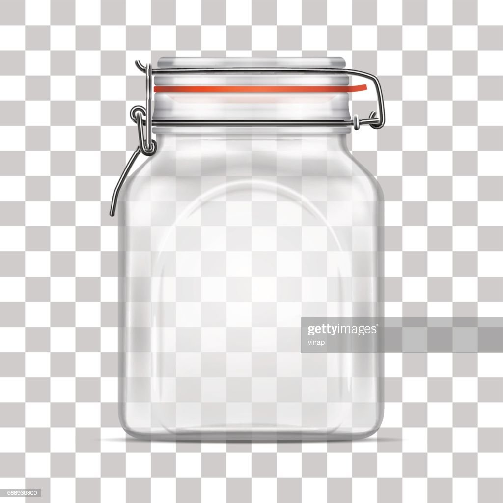 Vector empty Bale Square Glass Jar with Swing Top Lid isolated on transparent background