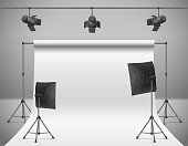 Vector empty photo studio with equipment