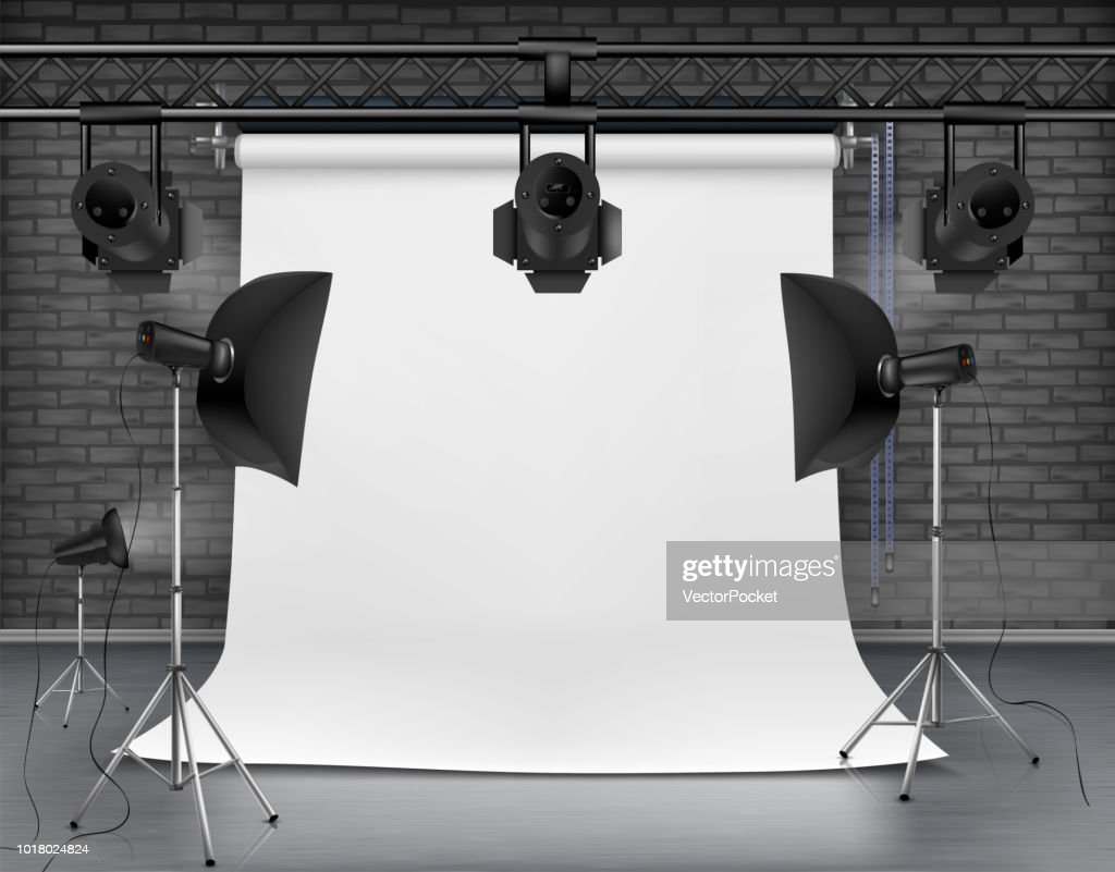Vector empty photo studio with lighting equipment