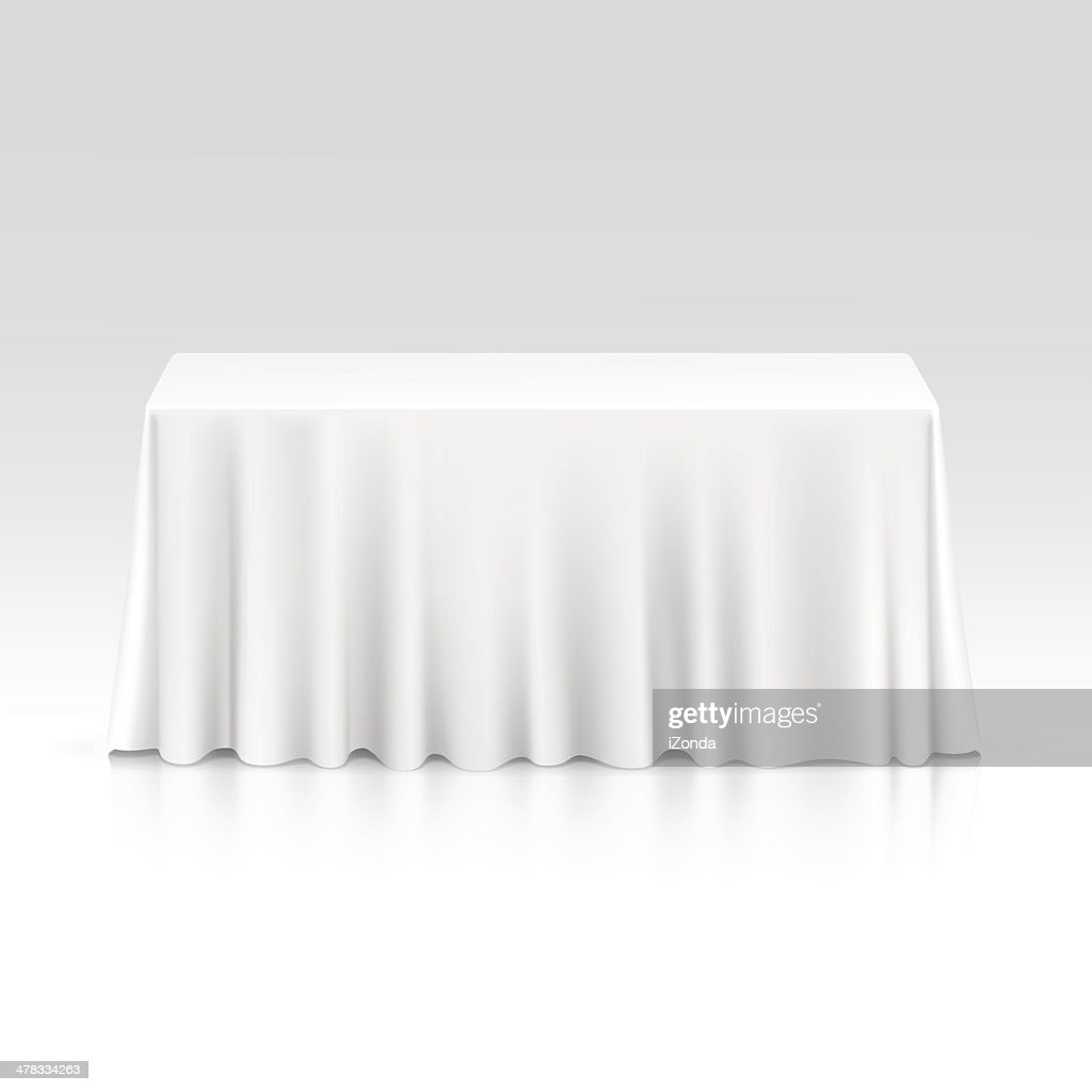 Vector Empty Rectangular Table with Tablecloth Isolated on White Background