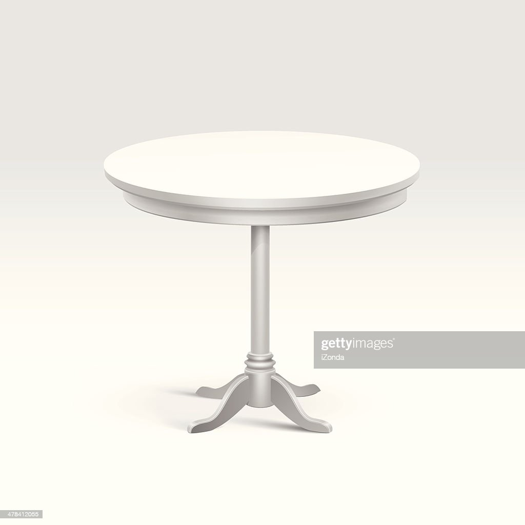 Vector Empty Round Table Isolated on White Background