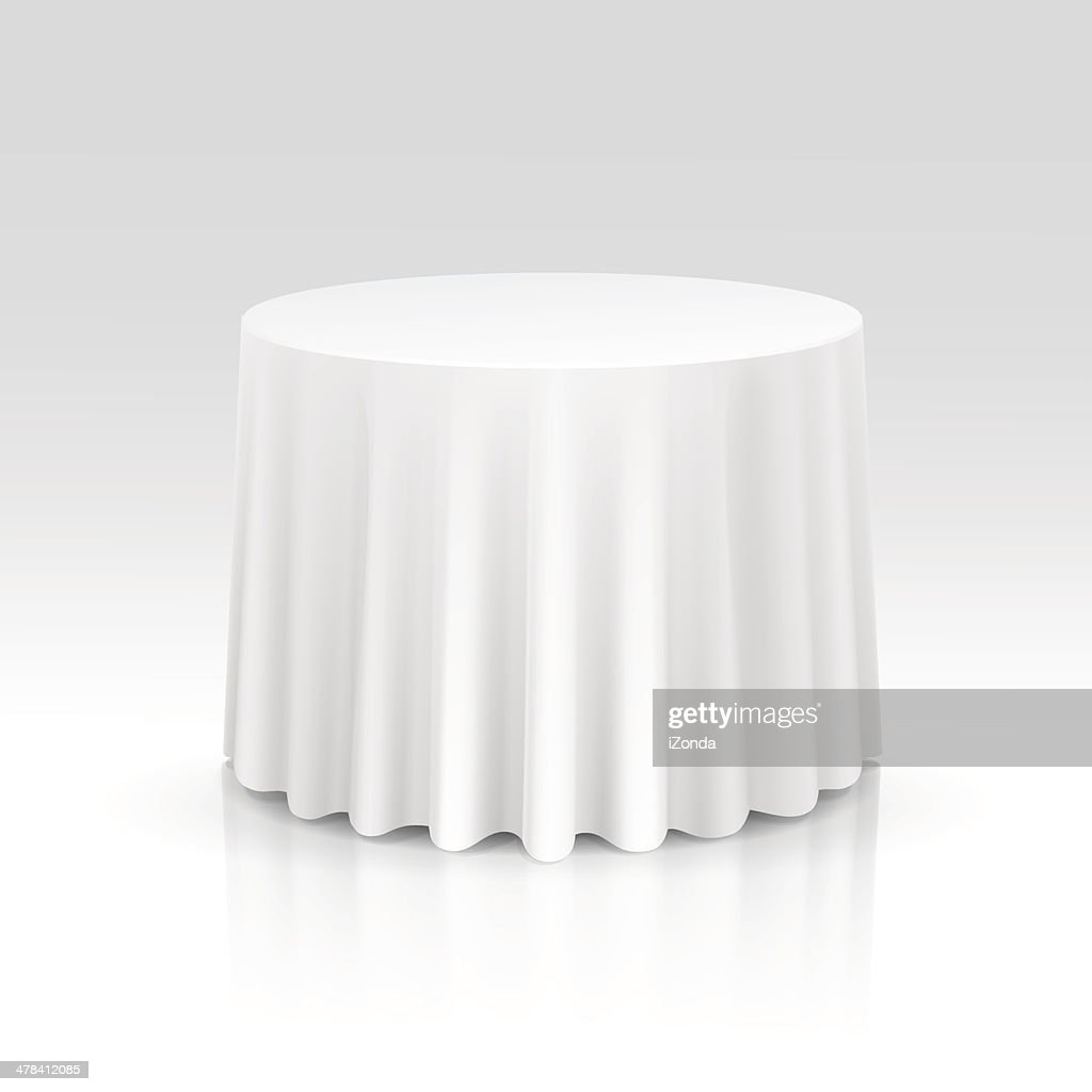 Vector Empty Round Table with Tablecloth Isolated on White Background
