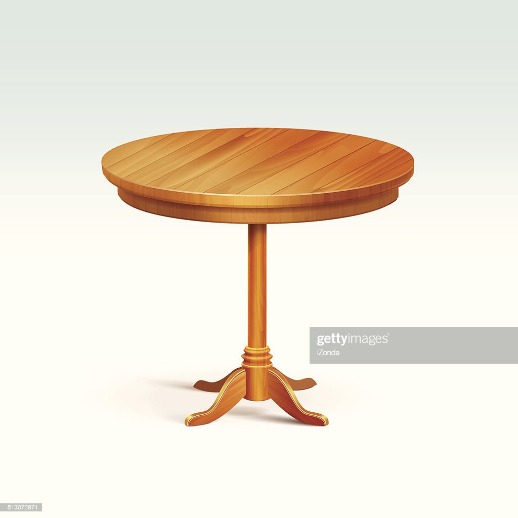 Vector Empty Round Wood Table Isolated on White Background