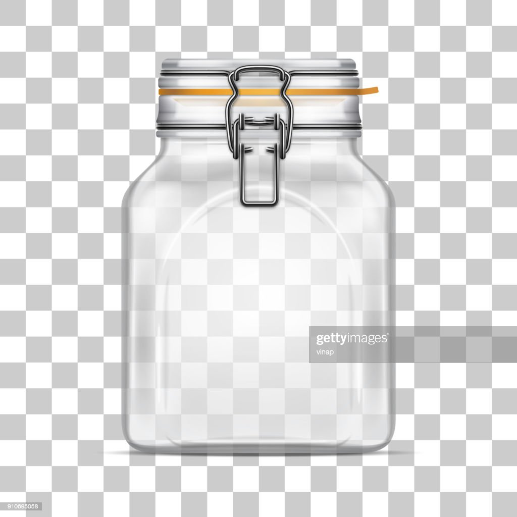 Vector empty Square Bale Glass Jar with Swing Top Lid isolated on transparent background