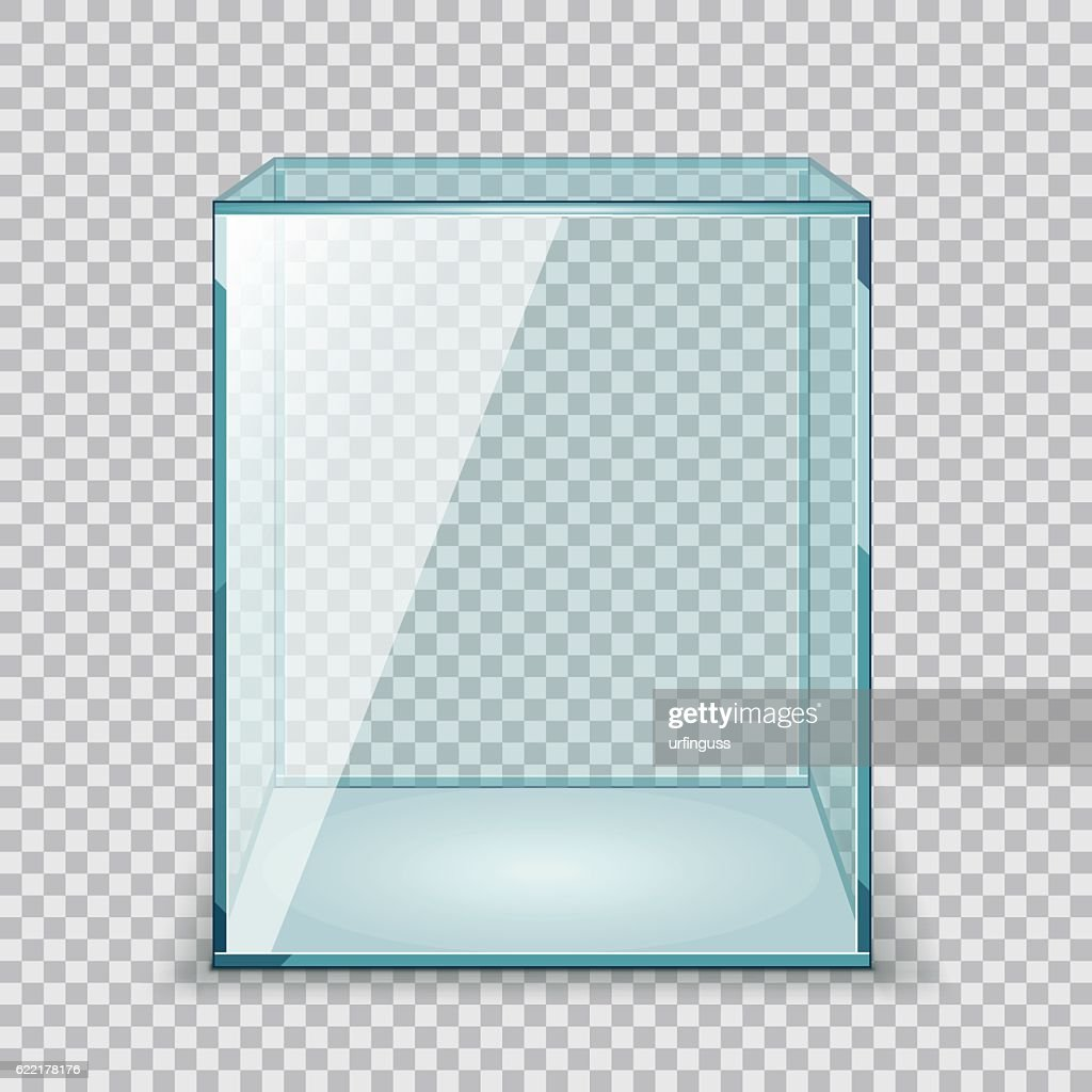 Vector Empty Transparent Glass Box