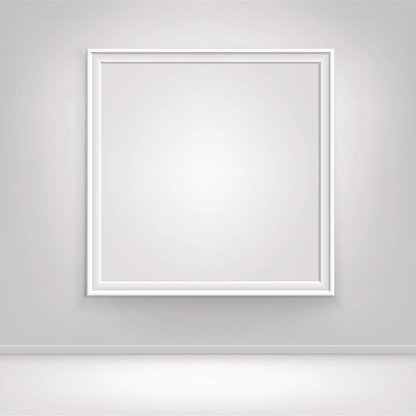 Vector Empty White Mock Up Poster Picture Frame on Wall 641985610