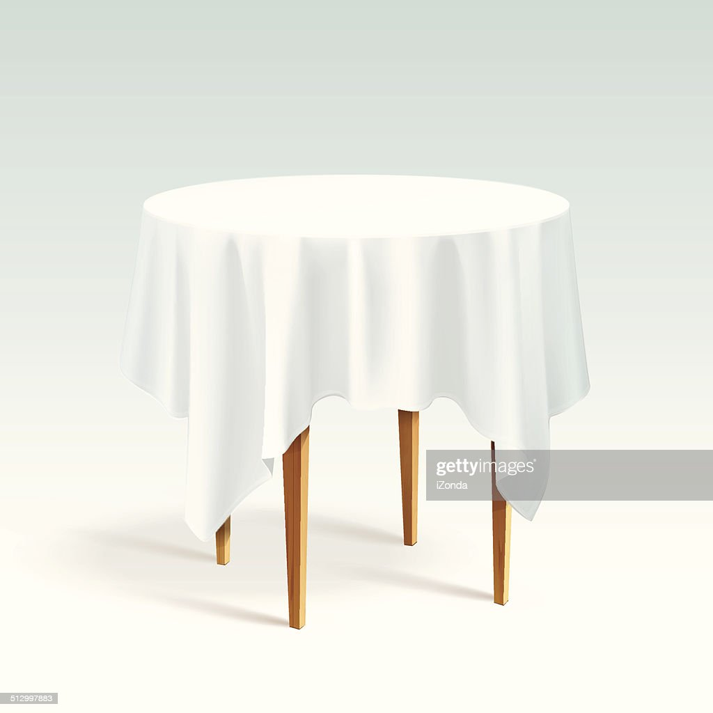 Vector Empty Wood Round Table with Tablecloth Isolated on White