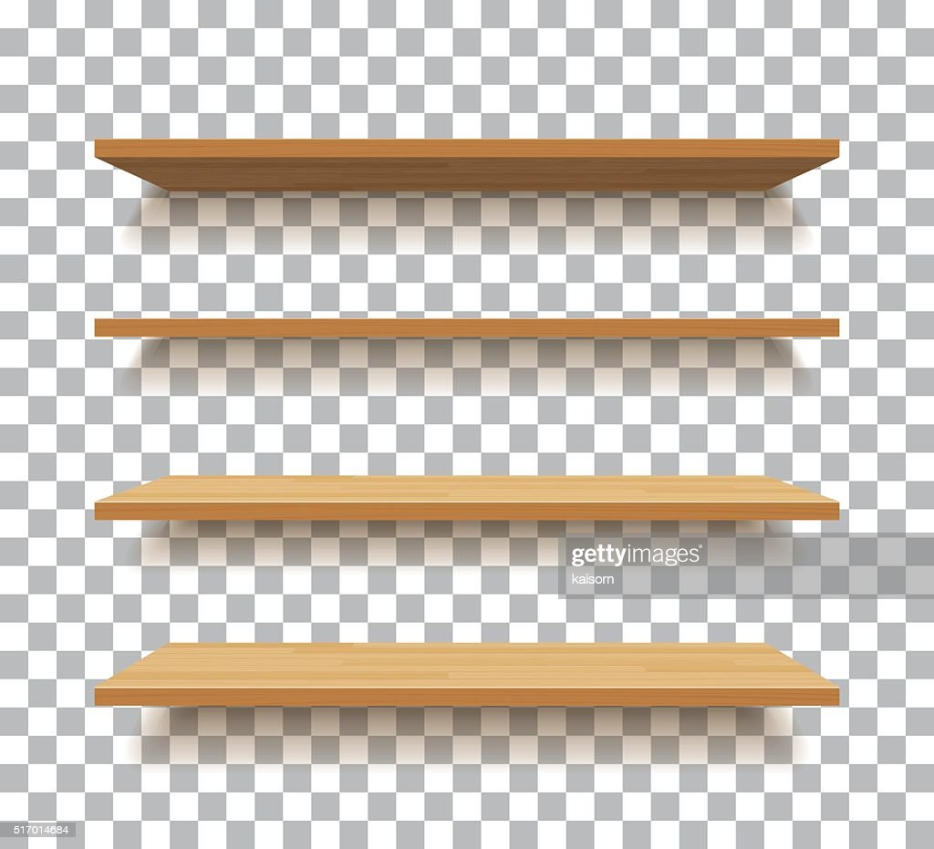 vector empty wooden shelf isolated background