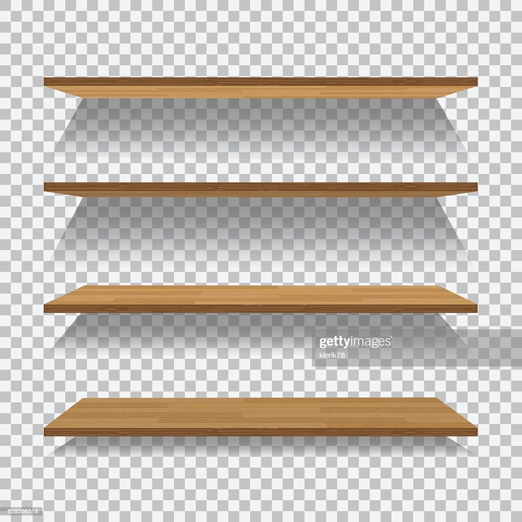 Vector empty wooden shelf