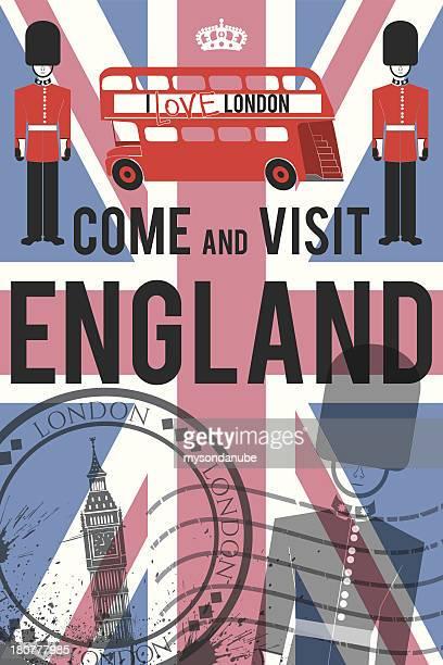 vector England travel invitation poster
