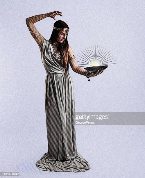 Vektor-Gravur von einem schönen weiblichen Assistenten Casting Zauber