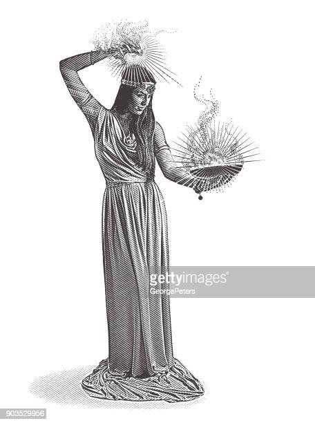 vector engraving of a beautiful female wizard casting spell - wizard stock illustrations, clip art, cartoons, & icons