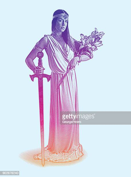vector engraving of a beautiful goddess holding sword and bouquet of lilies - goddess stock illustrations, clip art, cartoons, & icons