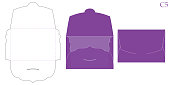 Vector envelope. Purple opened envelope isolated on a background.