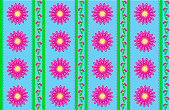 Vector Eps 10 Blue Wallpaper with Pink Flowers and Green Stripes