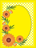 Vector Eps 10 Yellow Oval Copy Space with Gingham and Flowers