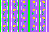 Vector Eps 8 Purple Wallpaper with Yellow Flowers and Stripes