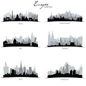 Vector european coutries silhouettes