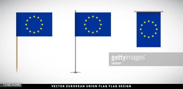 白い背景に設定されたベクトル欧州連合フラグ - 旗棒点のイラスト素材/クリップアート素材/マンガ素材/アイコン素材