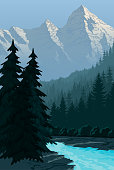 vector evening in beautiful mountains with river