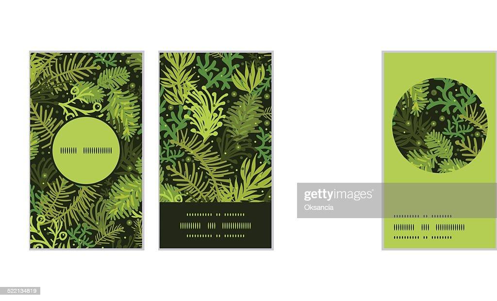 Arbre De Nol Illustration Evergreen Monture Ronde Verticales Motif Cartes Visite Clipart Vectoriel