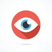 Vector eye icon. Flat style design logo with long shadow