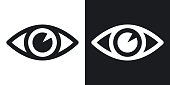 Vector eye icon. Two-tone version on black and white background