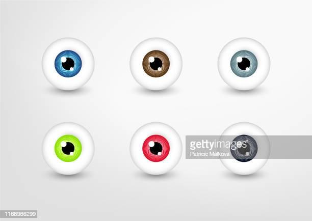 ilustrações, clipart, desenhos animados e ícones de o vetor eyes a coleção, jogo colorido do olho - olho