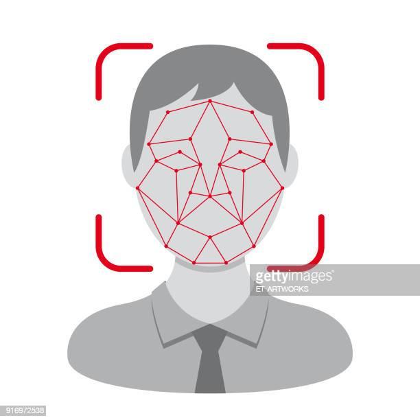 vector face identification design - access control stock illustrations, clip art, cartoons, & icons