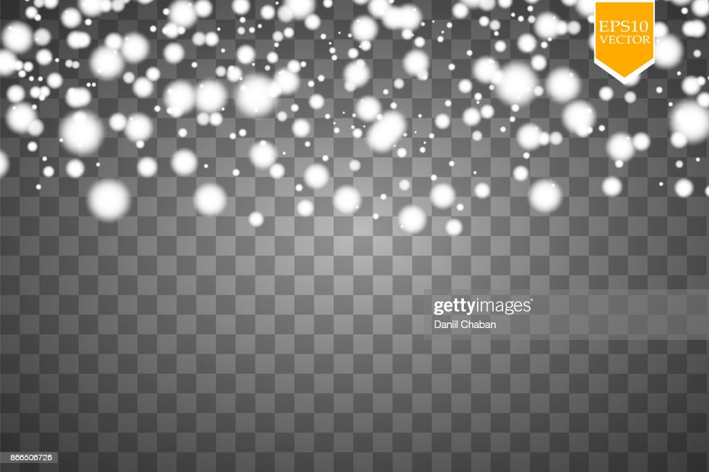 Vector falling snow effect isolated on transparent background with blurred bokeh