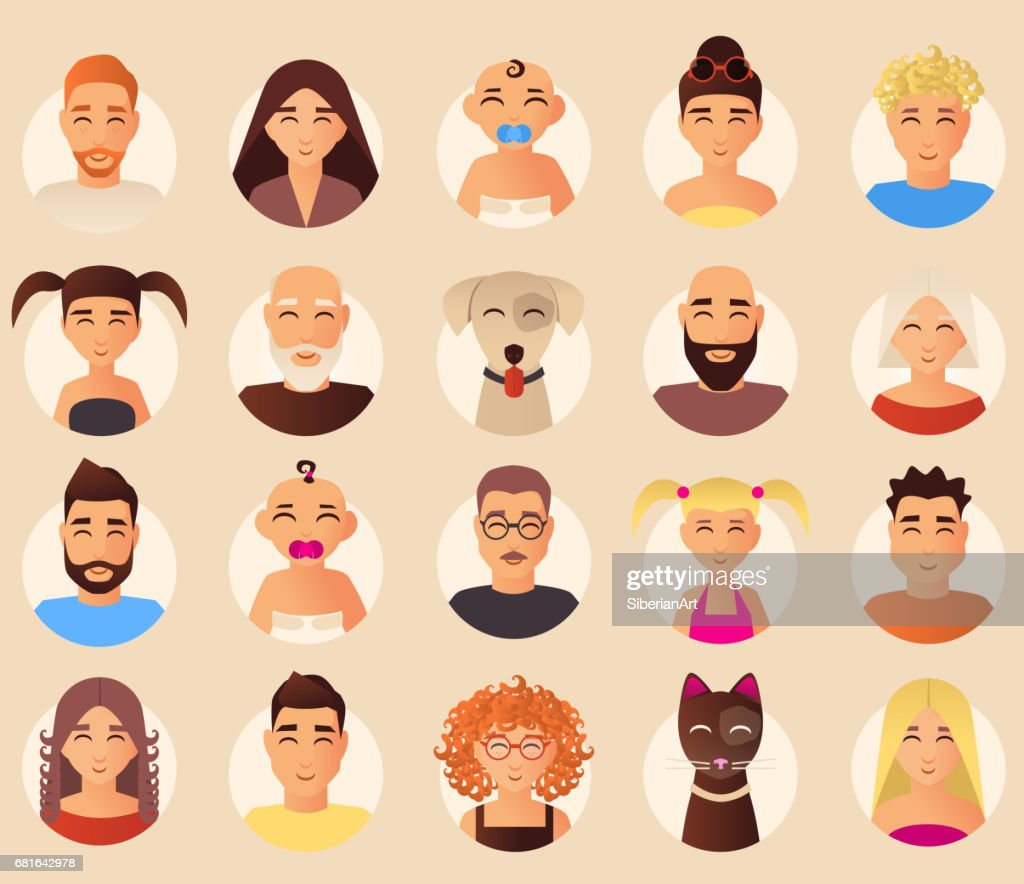 Vector family avatars icons set in flat style