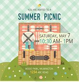 Vector family picnic glade card. Food and pastime illustration. Flat