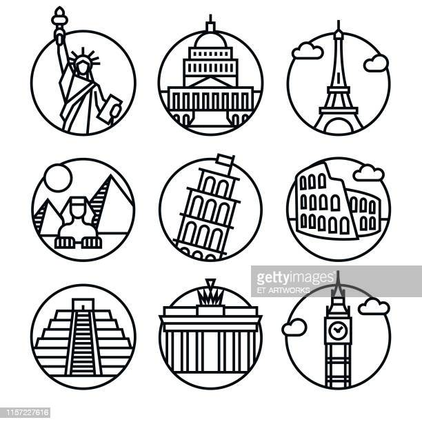 vector famous monuments icon set - clock tower stock illustrations
