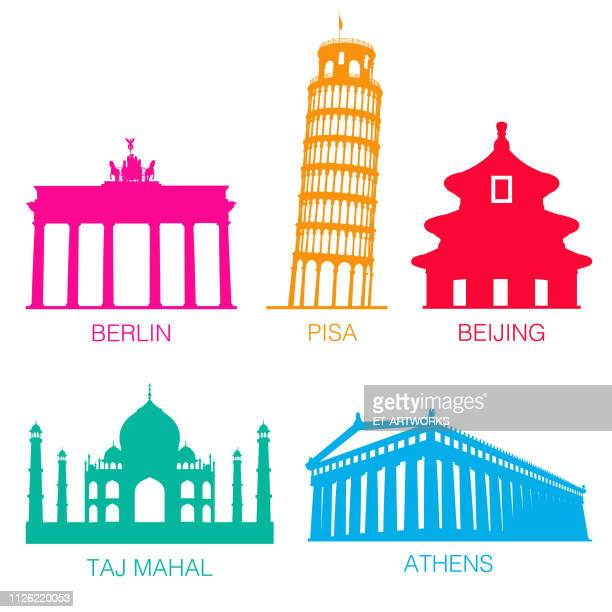 vector famous monuments silhouette - pisa stock illustrations, clip art, cartoons, & icons