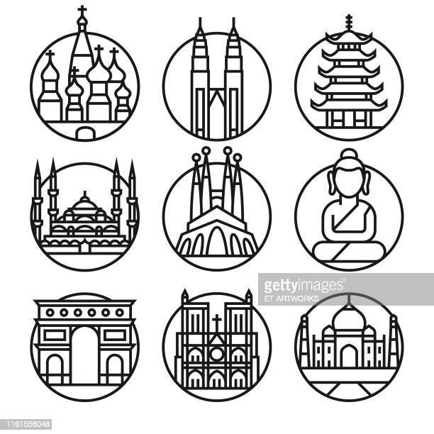 vector famous travel - icon set - monument stock illustrations
