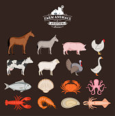 Vector farm animals and seafood collection