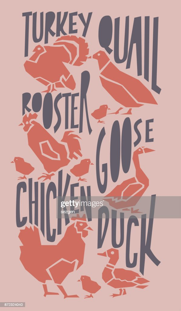 vector farm animals illustration with typography poster