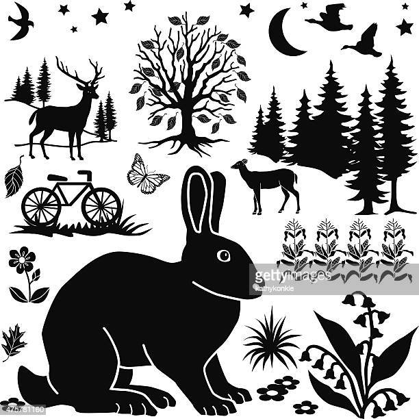 vector farm field design elements with rabbit and bicycle - zea stock illustrations, clip art, cartoons, & icons