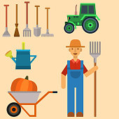Vector farm harvesting equipment for agriculture and horticulture farmer man with hand tools