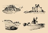 Vector farm landscapes illustrations set. Sketches of castle, villa, windmill etc in fields. Hand drawn countryside.