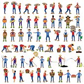 Vector farmers in various poses.