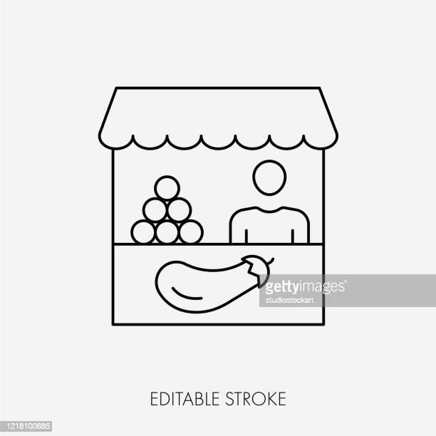 ilustraciones, imágenes clip art, dibujos animados e iconos de stock de vector farmers market stall. trazo editable - puesto de mercado